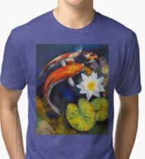 Koi Fish and Water Lily Tri-blend T-Shirt