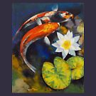 Koi Fish and Water Lily by Michael Creese