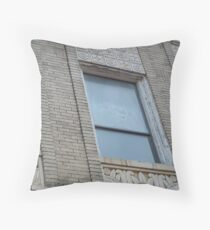 Blue Window in Yellow Brick Wall Throw Pillow
