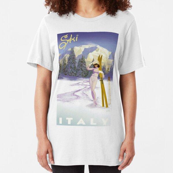 Vintage Italian Ski sport poster, ski italy Slim Fit T-Shirt