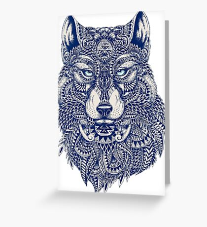 Blue Tones Detailed Wolf Head Illustration Art Greeting Card