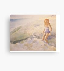 My little girl in the surf Canvas Print