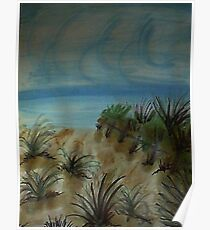 Path along Fence to the beach, watercolor Poster