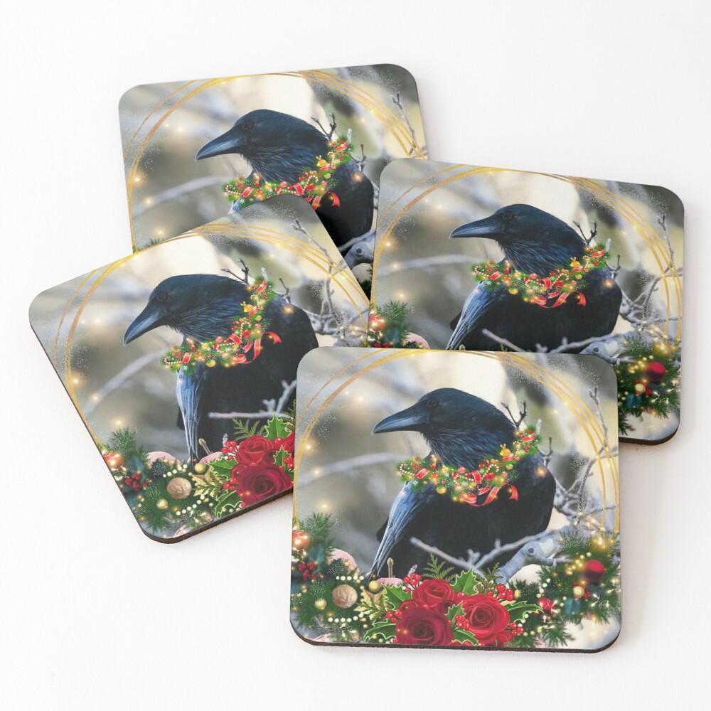 Christmas Crow, raven, winter solstice Coasters (Set of 4)