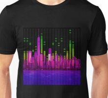 DJ NYC NY Skyline Sound Bar Meter Music Engineering Unisex T-Shirt