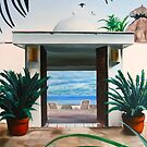 Salinas 2 - oil painting of a hotel door in Mexico by James  Knowles