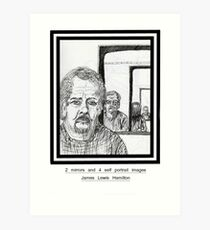 2 mirrors and 4 self portrait images Art Print