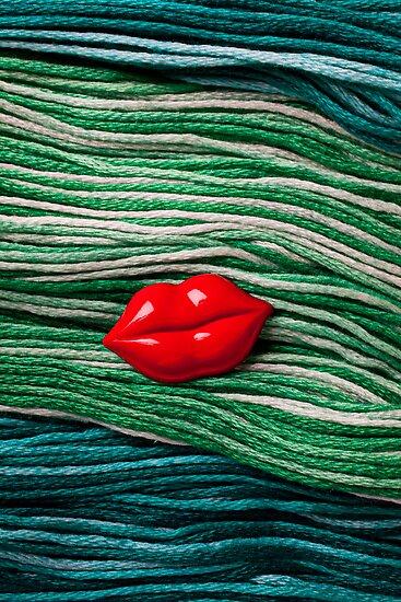 Red Lips On Yarn by Garry Gay