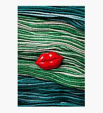 Red Lips On Yarn Photographic Print