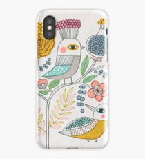 Folk Birds and Flowers iPhone Case