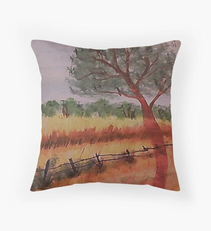 A peacefull scene over the valley, watercolor Throw Pillow