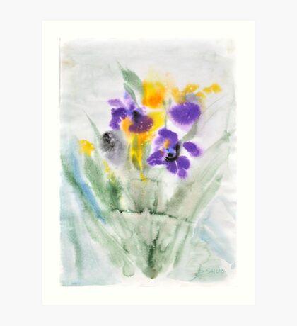 Irises in aqua Art Print