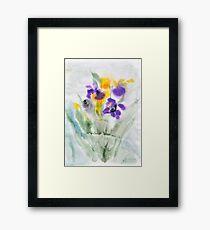 Irises in aqua Framed Print