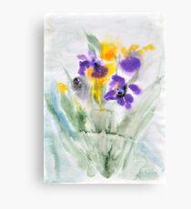 Irises in aqua Canvas Print