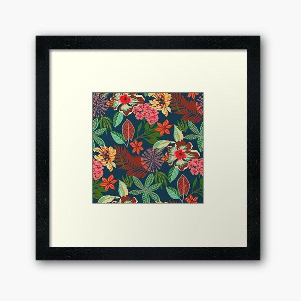 tropical jungle floral Framed Art Print
