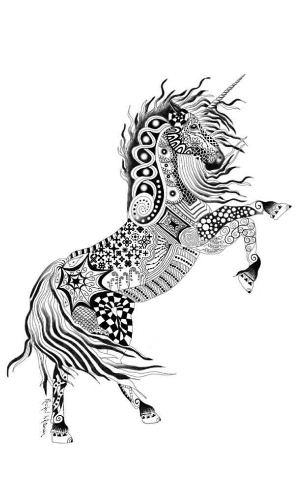 Quot Zentangle Unicorn Quot By Rayling69 Redbubble