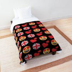 Love British England  Emoji JoyPixels Travel to Great Britain Comforter