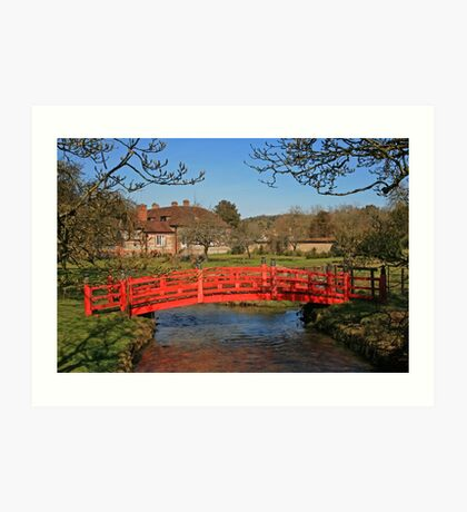Red Bridge, Heale Gardens Art Print