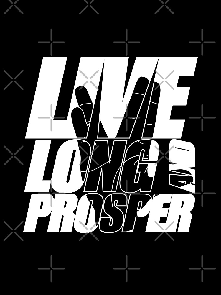 LIVE LONG AND PROSPER Star Trek quota slogan slogan with silhouette of volcano greeting by jodotodesign