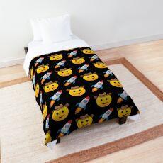 Rocket Cowboy Emoji JoyPixels Funny Texas Boy to the Moon Comforter