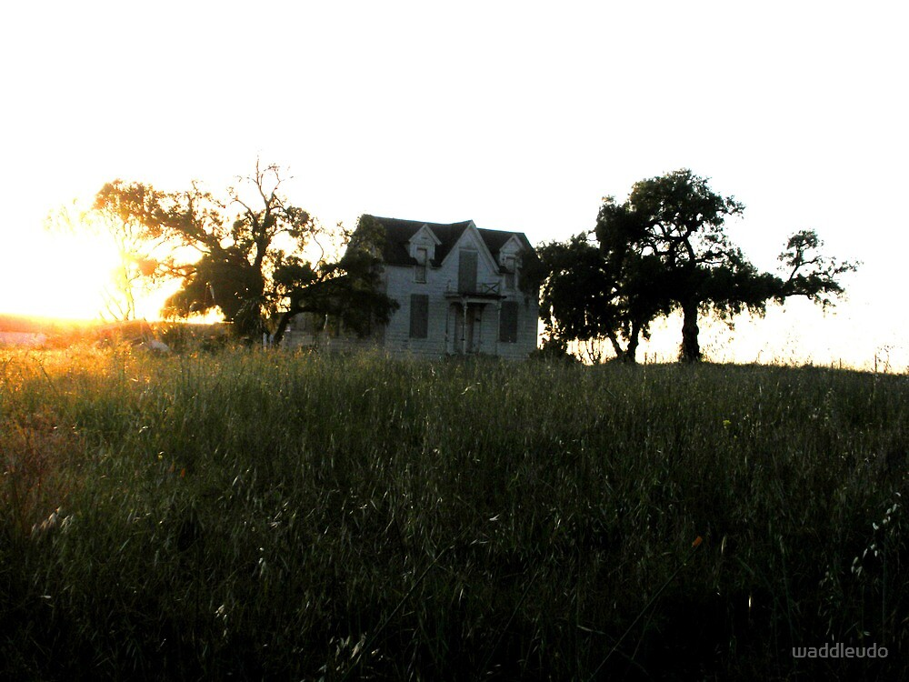 """Creepy Old Farmhouse at Sunset"" by waddleudo"