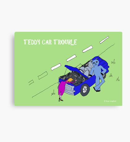 TEDDY CAR TROUBLE Canvas Print