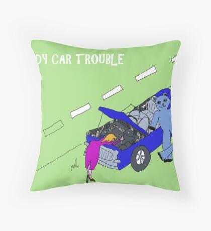 TEDDY CAR TROUBLE Throw Pillow