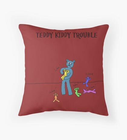 TEDDY KIDDY TROUBLE Throw Pillow