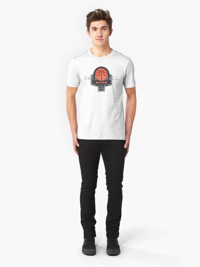Alternate view of Basketball, Basketball Hoop, Basket Ball Slim Fit T-Shirt