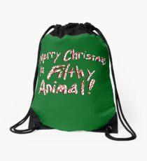 Merry Christmas ya Filthy Animal! Drawstring Bag