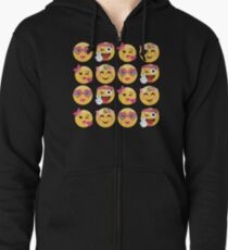 Sweet Girls Emoji JoyPixels Lovely Faces Zipped Hoodie