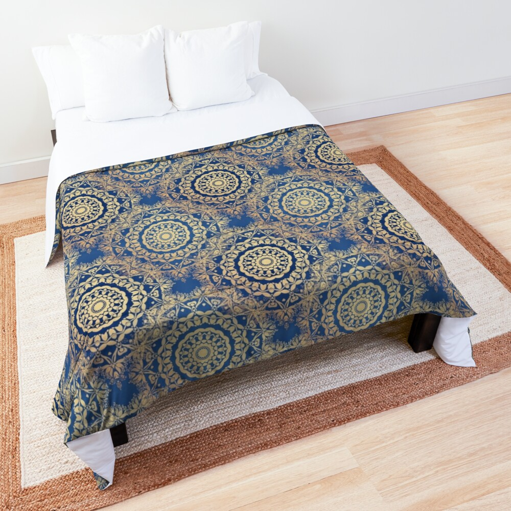 Gold Mandala for Spirituality and Charity Blue Comforter