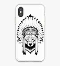 Wolf Indian Headdress iPhone Case