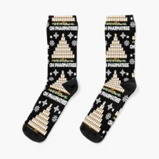 Pharmacy Christmas Tree Medication Pharmacist Gift Idea Socks
