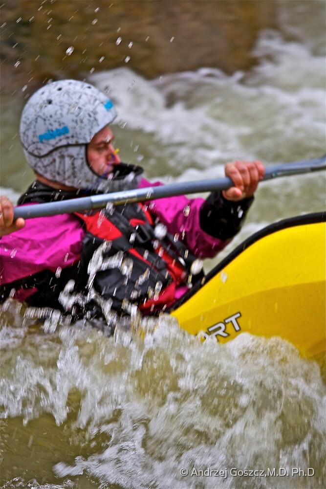 Whitewater kayaking . Playboating .Dunajec River. Zabrzeż . Poland. by Brown Sugar . by © Andrzej Goszcz,M.D. Ph.D