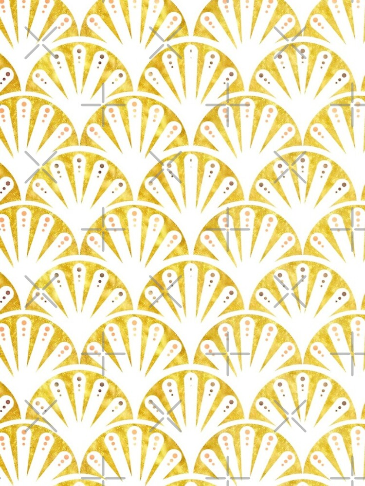 Art deco gold and white fan pattern by MagentaRose