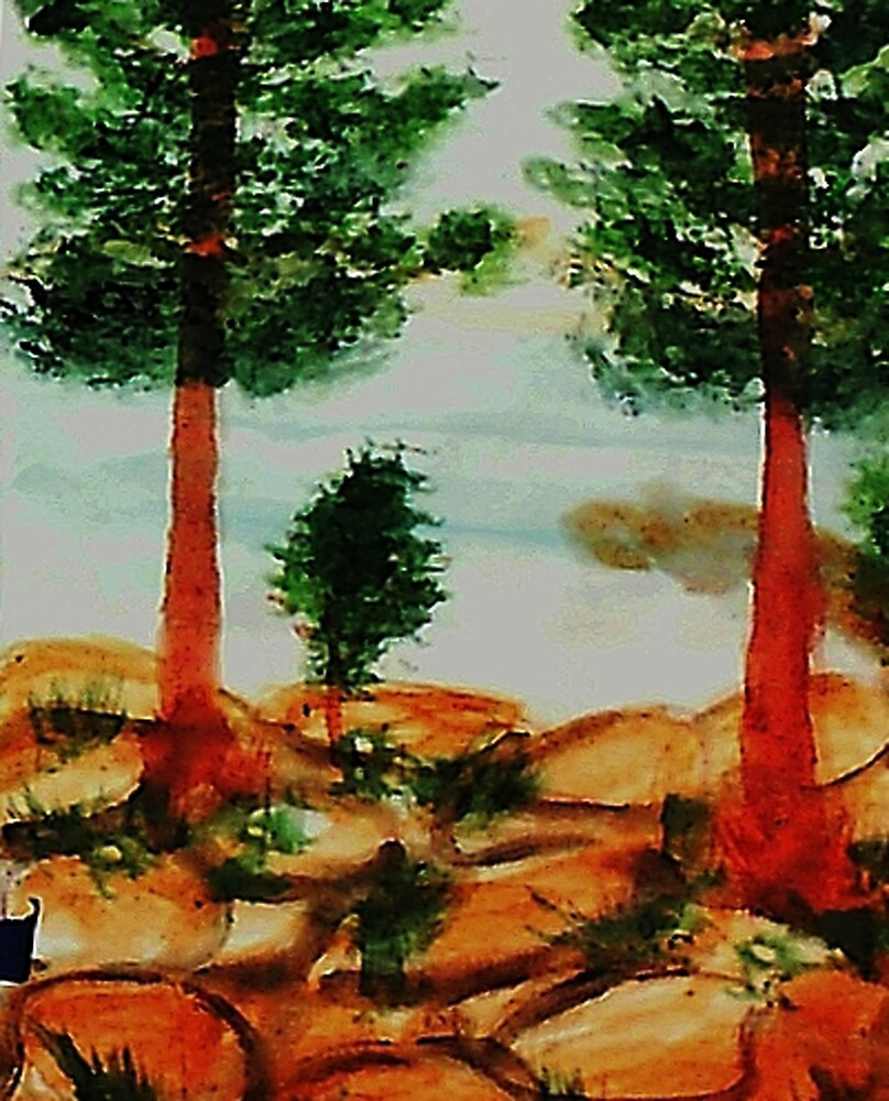 Looking from Balcony onto Lake Tahoe #2, Series, watercolor by Anna  Lewis, blind artist