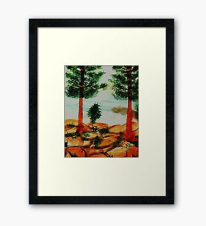 Looking from Balcony onto Lake Tahoe #2, Series, watercolor Framed Print