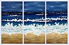 'BEFORE THE STORM' tryptych acrylic textured seascape by Lisafrancesjudd