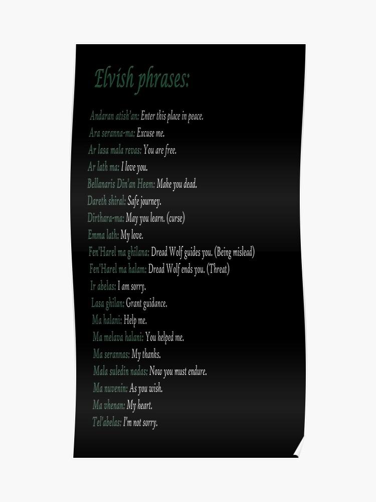 Elvish phrases - Dragon Age | Poster