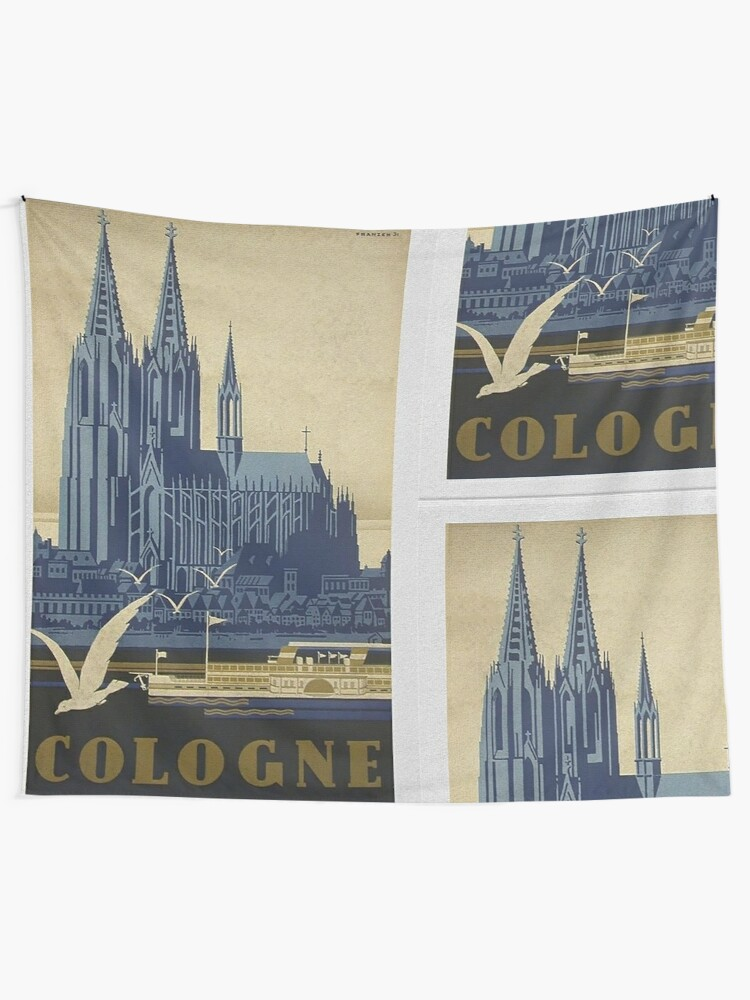 Alternate view of Vintage Cologne Travel Poster Tapestry