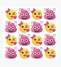 Blowing Kisses Emoji JoyPixels Pink Sparkle Poo Photographic Print