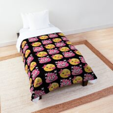 Blowing Kisses Emoji JoyPixels Pink Sparkle Poo Comforter