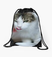 purrfect cappuccino, cat and coffee cup Drawstring Bag