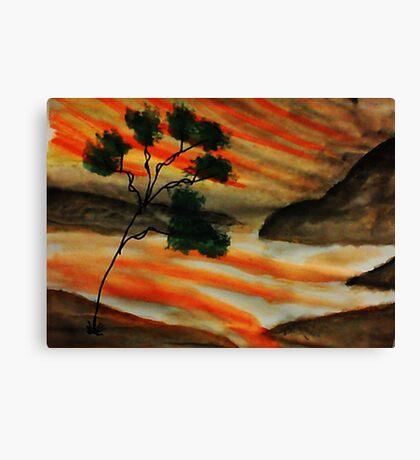 Beautiful sunset with fantacy tree, watercolor Canvas Print