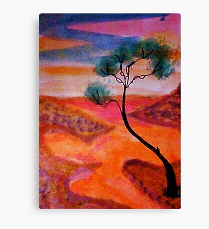 Fantasy tree over a water scene, watercolor Canvas Print