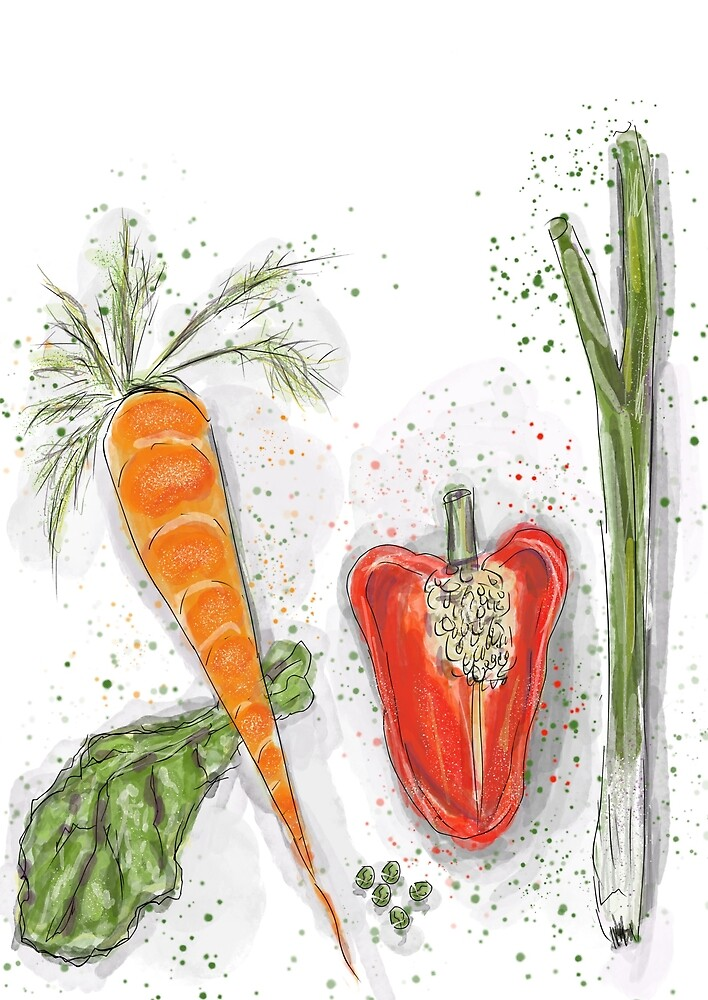 Whimsical Art: Vegetables! by Clare Walker