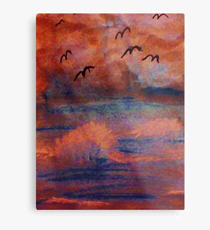 Waves created from a dark  storm, at sunset, watercolor Metal Print