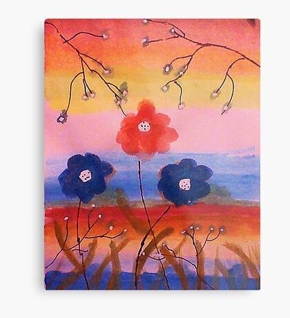 Flowers in fantasy rainbow, watercolor Metal Print