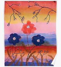 Flowers in fantasy rainbow, watercolor Poster